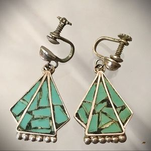 Vintage Mexican Silver and Turquoise Earri…